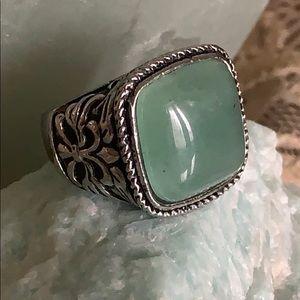 Aventurine stainless steel ring.  Size 8